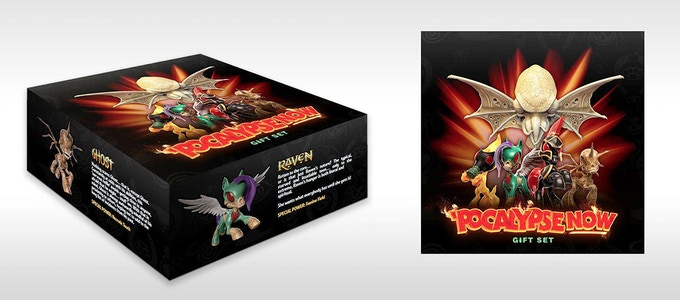 "Mock-up of Four Horsies ""Pocalypse Now"" Gift Set packaging"