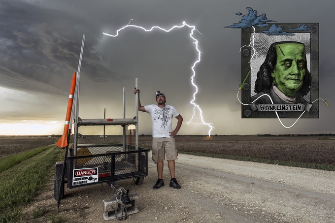 Jason Weingart deploying his 2014 probe near Smith Center, Ks.
