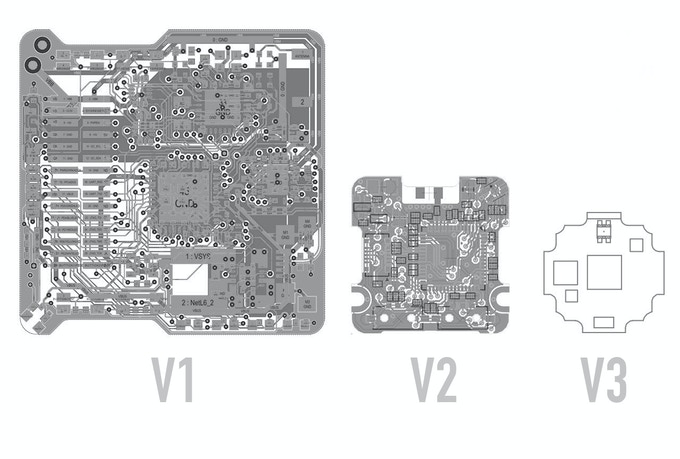 Progression of PCB design, V3 is the shipping version