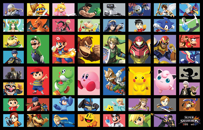 On the reverse, Nintendo's official art of the playable cast.