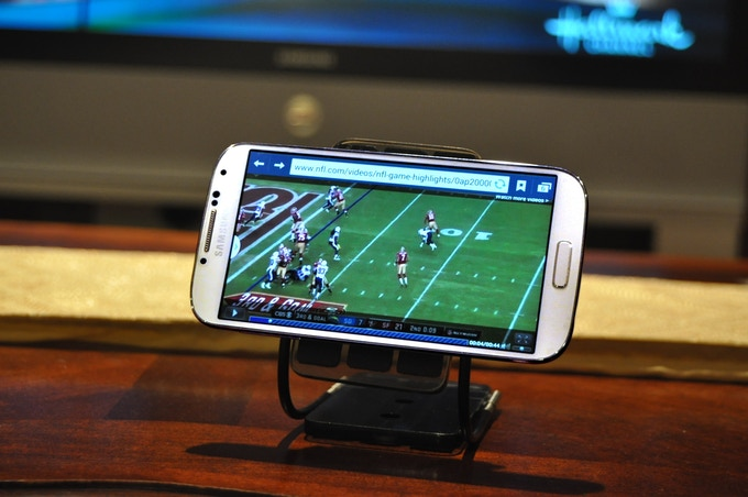 FUM functions as a second screen viewing stand to keep track of your favorite team's score.