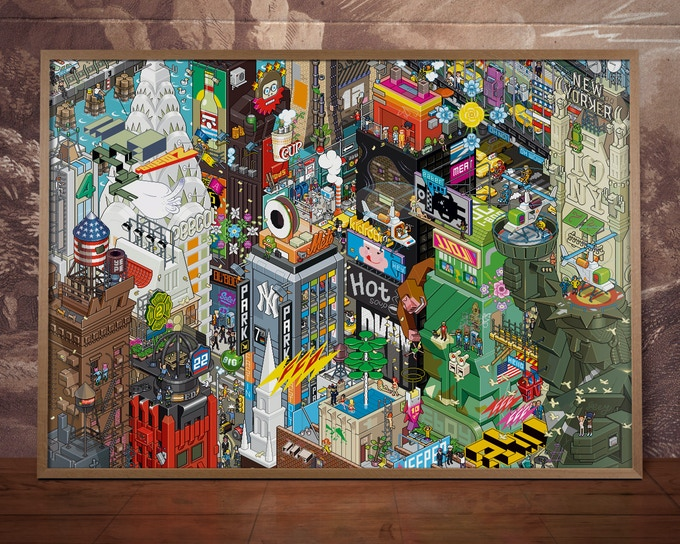 The NYC Pixorama poster from 2006 – framed