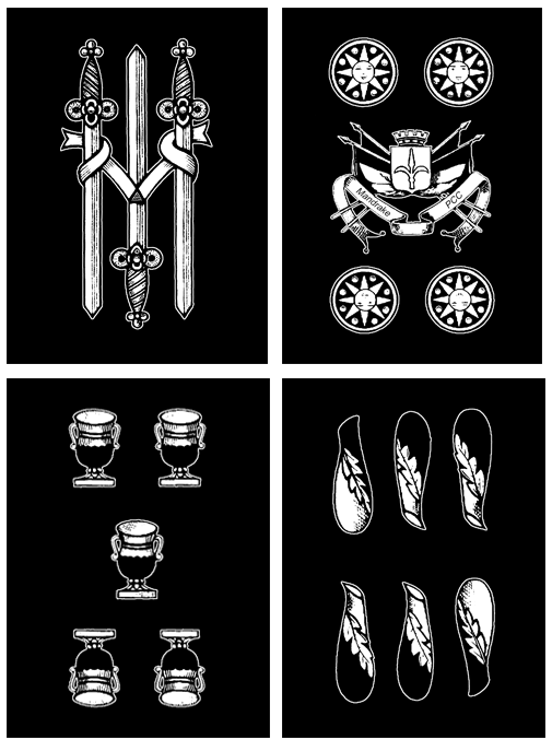 (Top-left to bottom-right) Three of swords, four of coins, five of cups, six of clubs