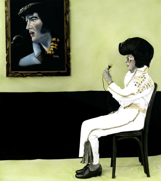 "Arrangement in Green and Black #14: Portrait of the Photographer's Mother (Elvis), 16"" x 20"""