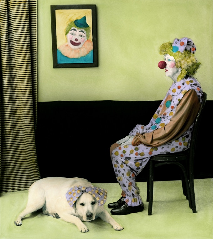 """Arrangement in Green and Black #20: Portrait of the Photographer's Mother (Clown), 16"""" x 20"""""""