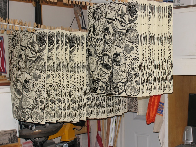 Prints drying in my studio, I can hang 600 at once