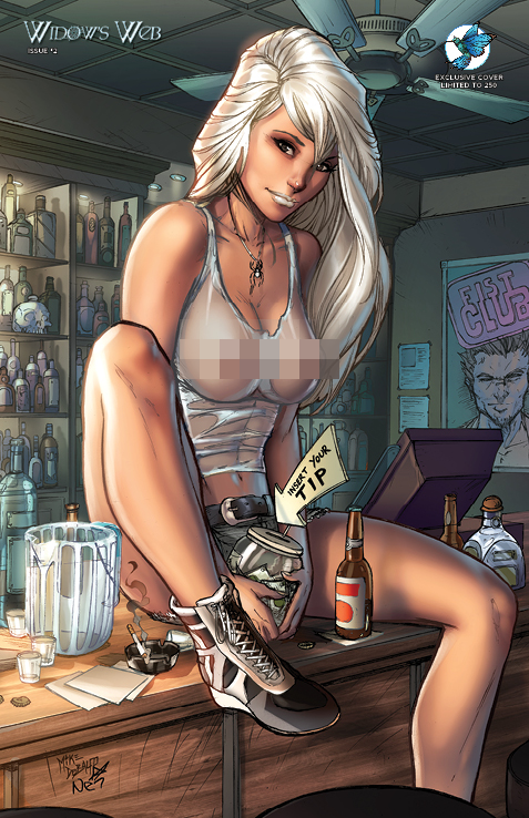 "WIDOW'S WEB #2 JESSE JAMES COMICS ""SEXY HAPPY HOUR"" EXCLUSIVE COVER by Mike Debalfo and Ula Mos (limited to 250 copies)"
