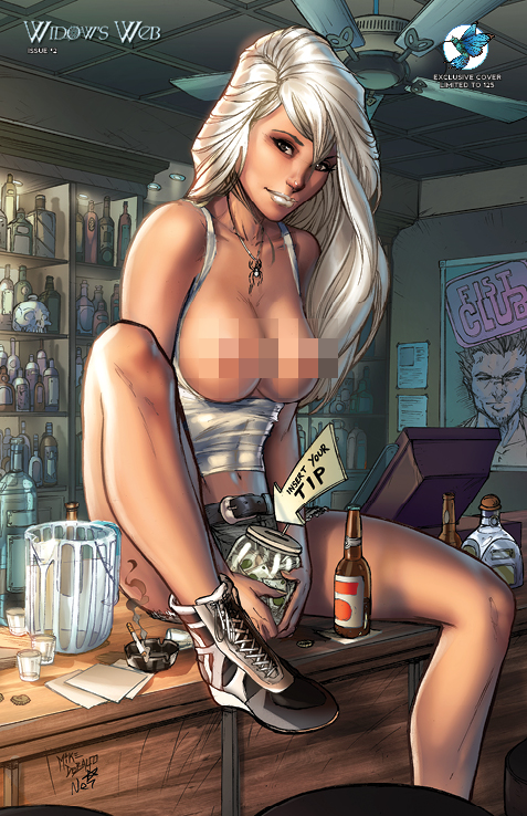 "WIDOW'S WEB #2 JESSE JAMES COMICS ""NAUGHTY HAPPY HOUR"" EXCLUSIVE COVER by Mike Debalfo and Ula Mos (limited to 125 copies)"