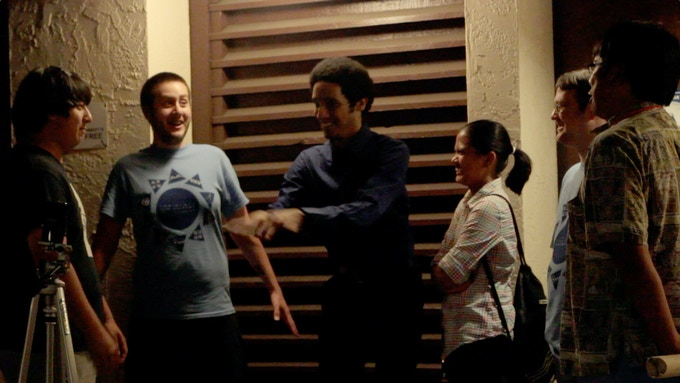 Technika players reminiscing outside arcade - the only way in which Technika's history has been regularly preserved. [Touching Sound microphone at left]