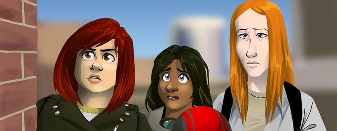 Andy, Sami, and Hannah, the first three Hues you'll meet in Volume 1.