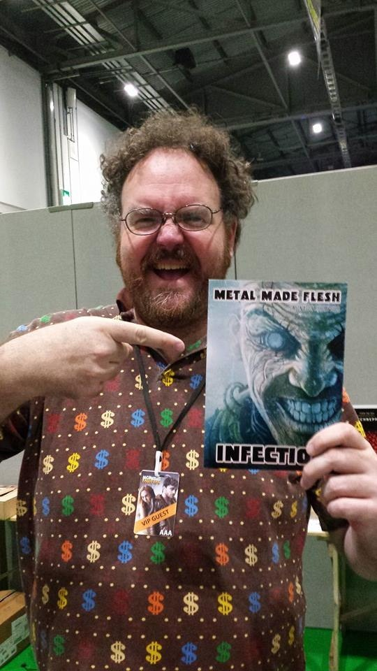 Jon Schnepp with his copy of Metal Made Flesh:  Infection