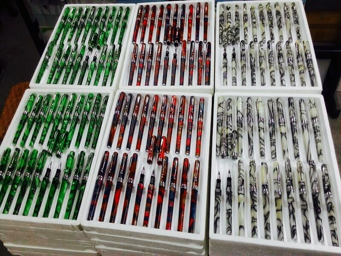 Pens Arriving at our Warehouse