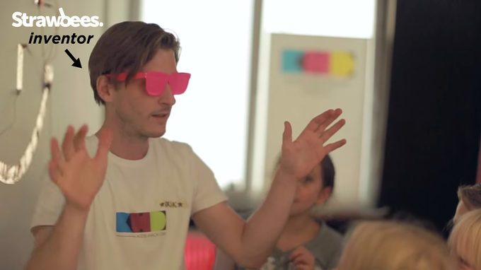 Strawbees inventor, Erik, participating in the worlds first Kids Hack Day event that took place in Stockholm on the 30th of august, 2013. Click image to watch video