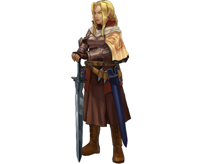Maternal yet deadly, lady Elisven from the Revolutionary Army.