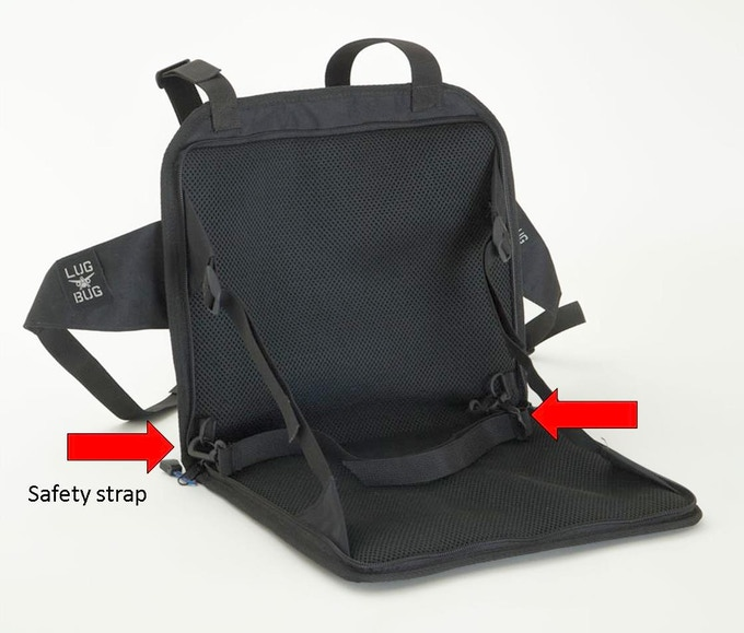 Reminder: keep a hand on the luggage to ensure that the child's weight does not tip the chair forward; similar to stabilizing a child in a bike seat