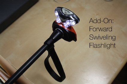 High-power 7 LED 180° swiveling flashlight. The flashlight attaches magnetically to the base, so you can remove and replace it easily in the night!