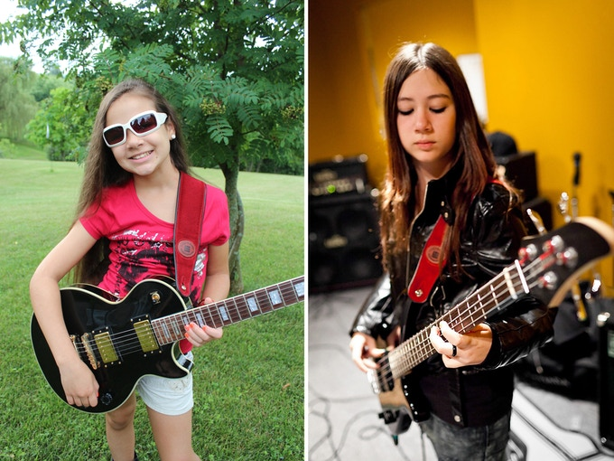 Sara with the black Les Paul and Andrea with her original 4-string bass. Both instruments have been used in many of the band's Youtube videos.
