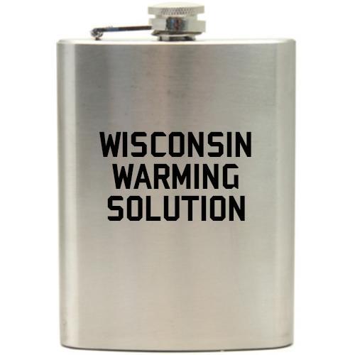 "$15 Reward - Customized 8 oz. Flask ""Wisconsin Warming Solution"""