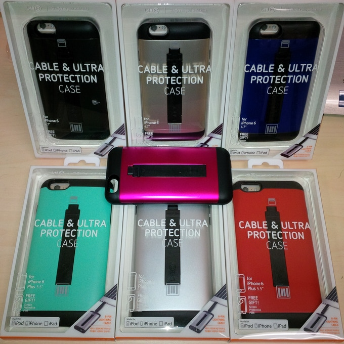 The protype batch of different colors in retail packaging for the Cable & Ultra Protection case.