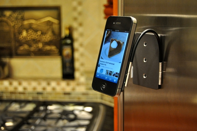 Mount your smartphone on the fridge and many other hard, smooth surfaces.