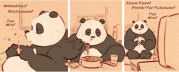 We have pandas playing videogames!