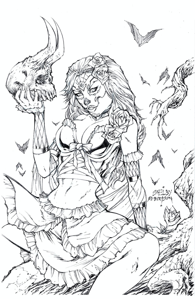 Blood Moon- Metal Trading Card/Pinup (Line art shown, colors to follow)