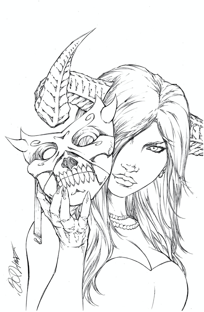 Masquerade- Metal Trading Card/Pinup (Line art shown, colors to follow)