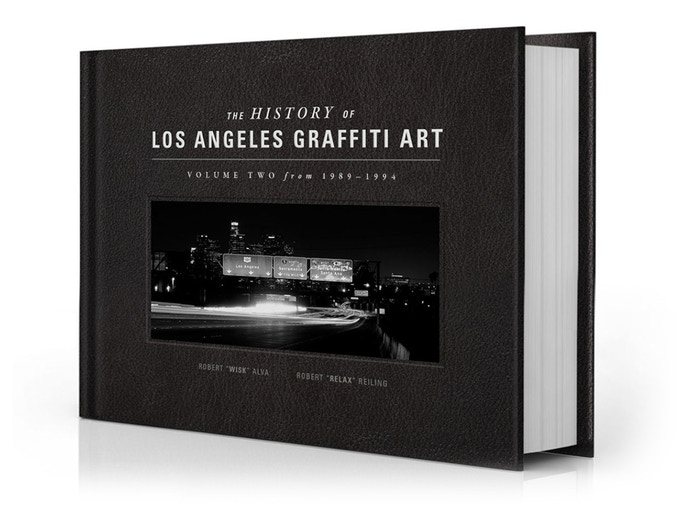 The History of L.A. Graffiti Art - Volume Two documents Los Angeles graffiti art from 1989-1994. This classic blackbook-inspired, faux leather hardcover will have a silkscreen title and an inset image of our iconic downtown freeway interchange.