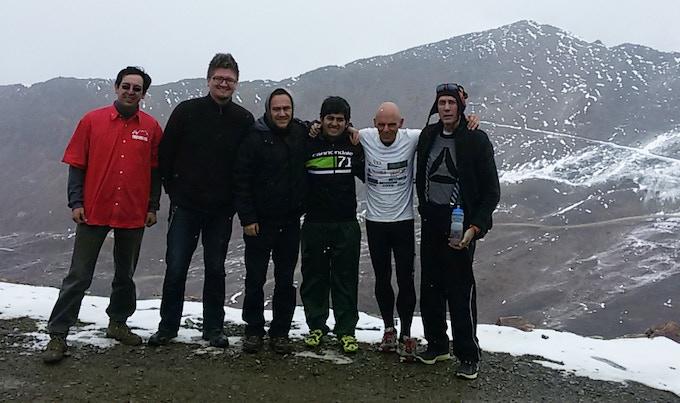 Cristian Conitzer, Luis Velasco, Carlos Teran, Pablo Iturri, Maas Van Beek, Chris Bongers at Chacaltaya Peak.