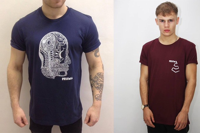 Pledge £20 or more to receive a Prisma t-shirt from these two unique styles (Speace Head on the left or Classic on the right)