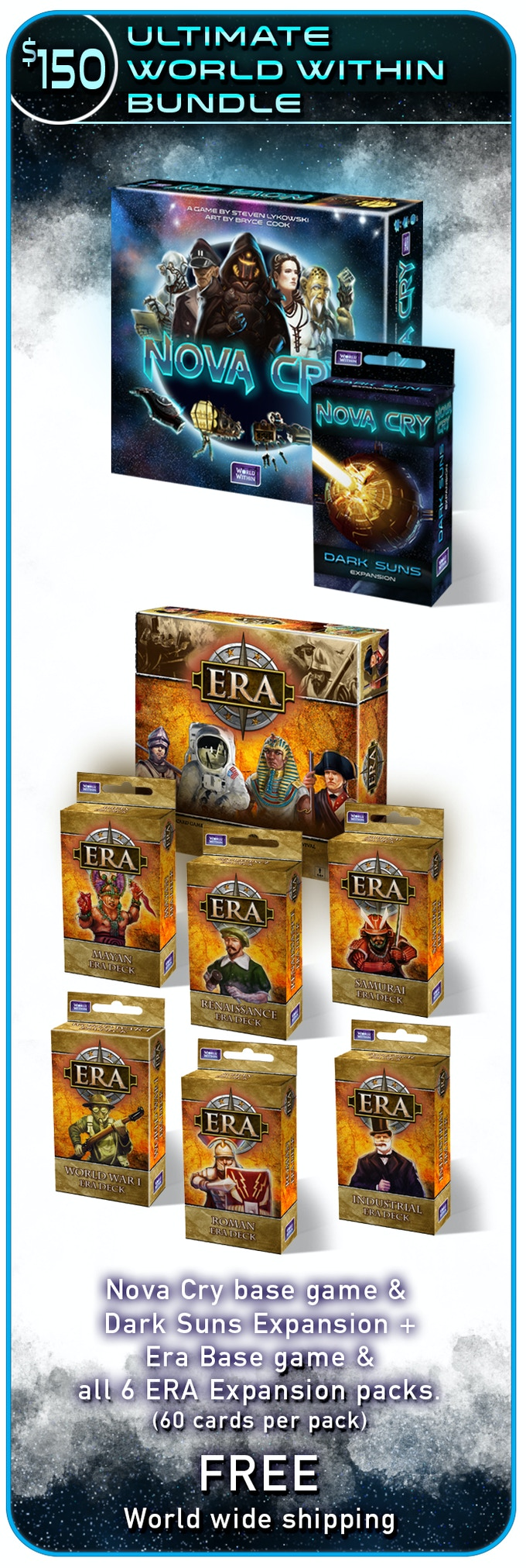 Due to popular request, the remaining 4 ERA decks from the original campaign will be available after this campaign ends through our project manager site, Backerkit!