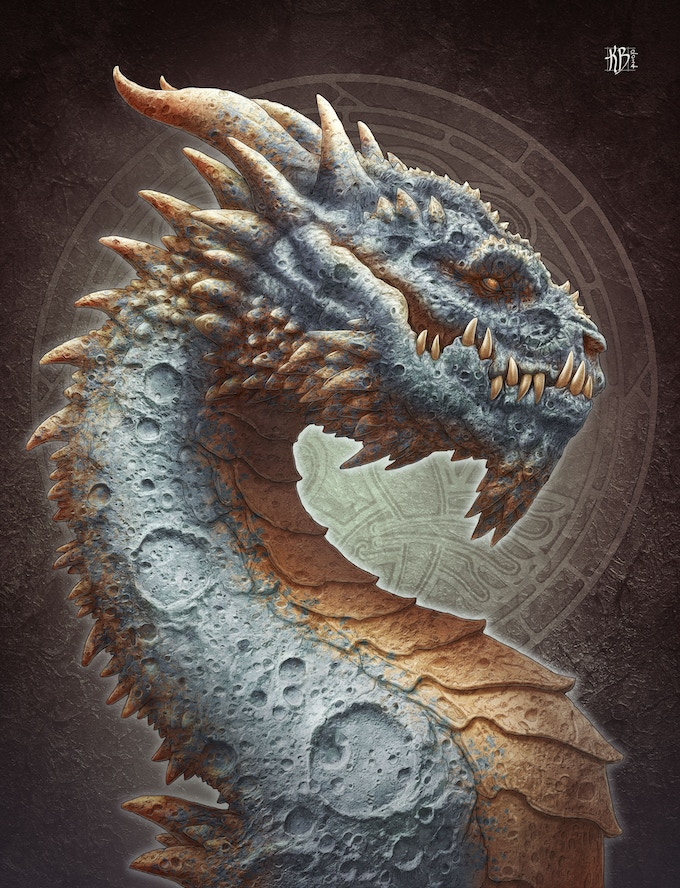 Moon Dragon (available on canvas or as a poster)