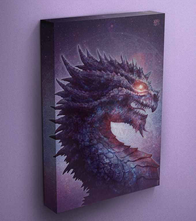 Star dragon on gallery wrapped canvas (mockup)