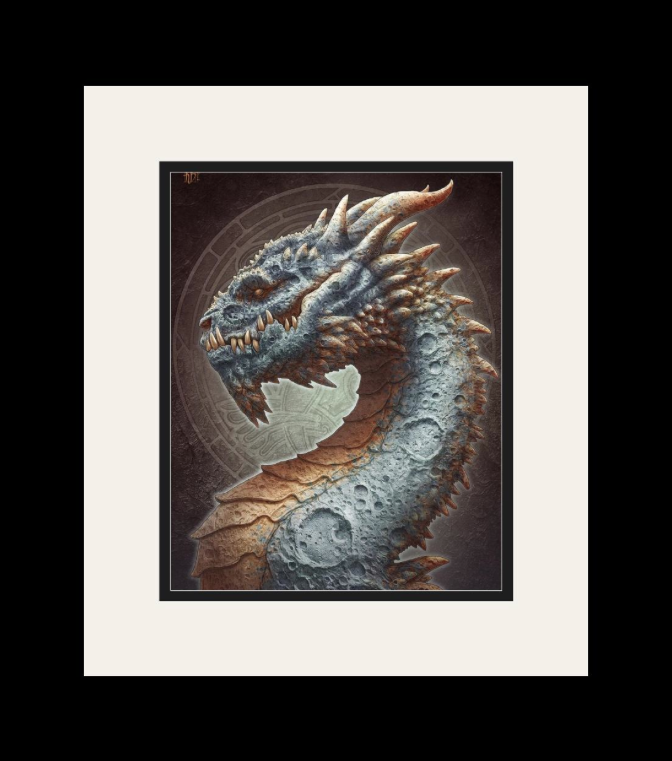 Framed Moon dragon poster (mockup)