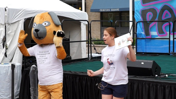 Dancing with Chloey the mascot at the Chicago Literacy Festival
