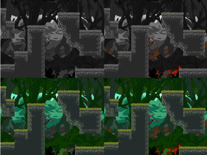 A screenshot of the same area with different colors unlocked. Top Left: None, Top Right: Red, Bottom Left: Blue and Green, Bottom Right: All colors