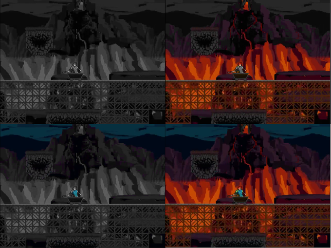 Same as previous screenshot but in a different area. Top Left: None, Top Right: Red, Bottom Left: Blue, Bottom Right: All colors