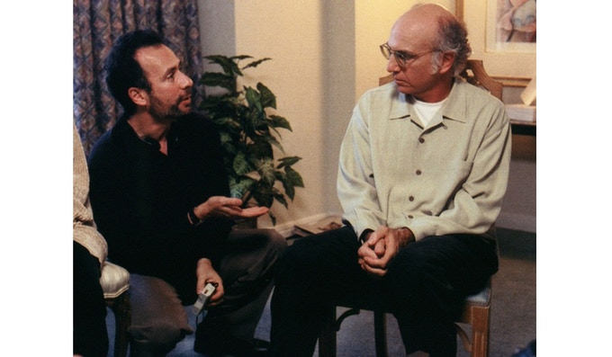 "Robert Weide & Larry David on the set of ""Curb Your Enthusiasm."""