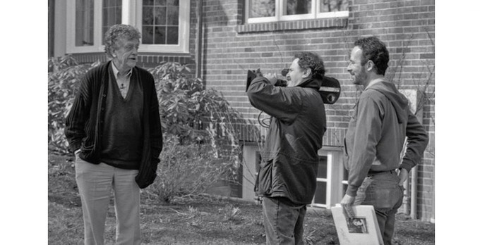 Weide (r) interviews Vonnegut in front of the author's boyhood home in Indianapolis, Indiana. 1994. ©Whyaduck Productions/ C. Minnick