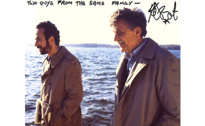 Weide and Vonnegut on the shores of Lake Maxincuckee in Culver, IN. 1994. (Inscription by Vonnegut.) ©Whyaduck Productions/ C. Minnick