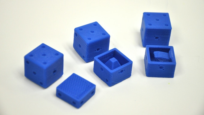 Loaded dice set with interior view