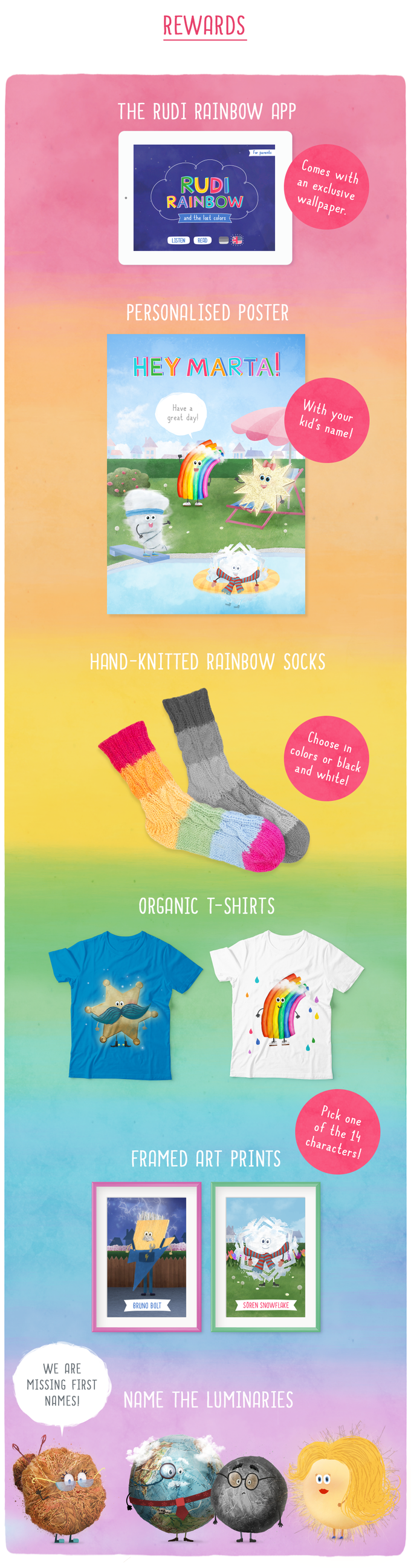 All designs except for the socks are mock-ups and not the final product.
