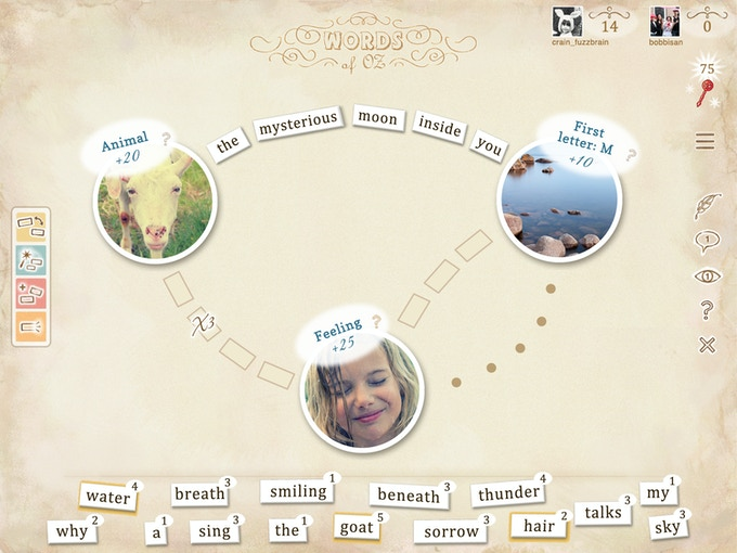 Example of a game board in Words of Oz