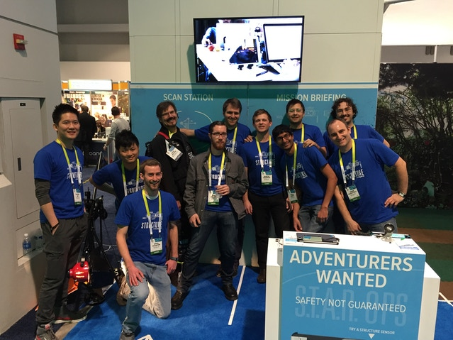 The team at the CES booth with one of our favorite Kickstarter backers, Mike Balzer