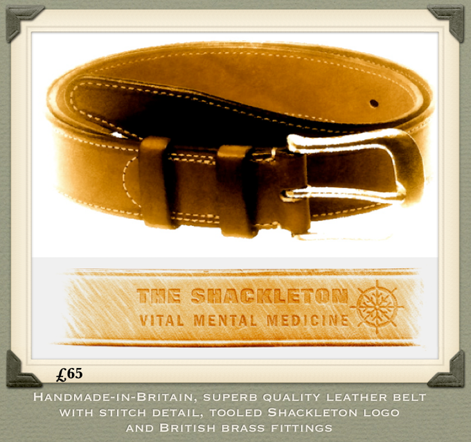 Handmade in England. Superb quality leather, stitched reinforcement, British brass fittings, tooled Shackleton logo.