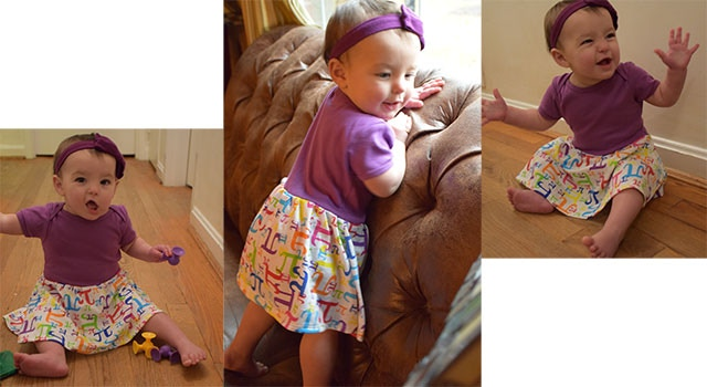 Infant snapsuit with skirt