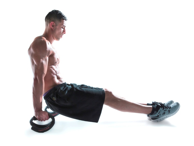 Seated Dip works on your Triceps, Shoulders and Back