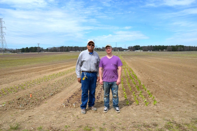 Me with VSU Farmer Cliff Slade at the Farmer Outreach 43,560 Project