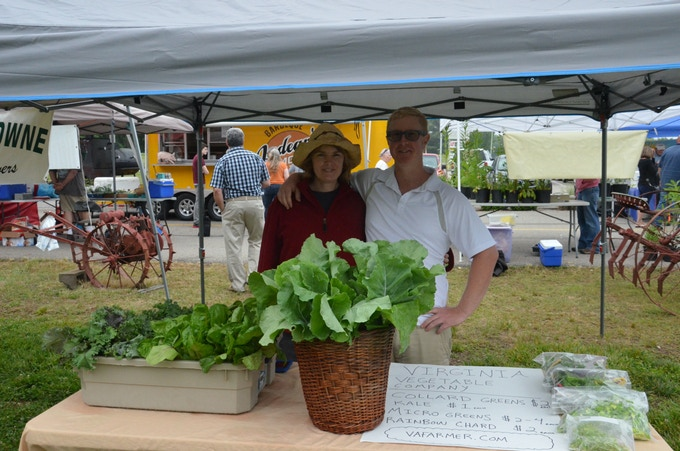 At the Powhatan Farmer's Market & my sister stops by for support