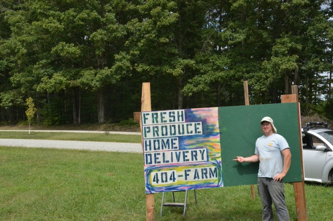 My Powhatan farm sign. Fresh Produce Home Delivered! It worked!